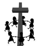 Circle around cross. Illustraton of circle holding hands around christian cross stock illustration