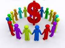 Circle around money. A circle of people around money Royalty Free Stock Photography