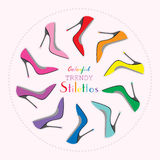 Circle arrangement of colorful sexy stilettos high heels set Stock Images
