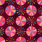 Circle arrow style pink symmetry seamless pattern. This image is drawing and design circle with arrow and decoration with pink and red colors background in Royalty Free Stock Photography
