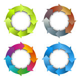 Circle arrows chart. Modern business time planning circle arrows chart set stock illustration