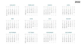Calendar infographic, table chart, presentation chart. Business period concept. Task manager. Week, month. 2022 year. Circle arrows diagram for graph infographic Royalty Free Stock Images