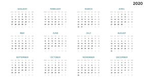 Calendar infographic, table chart, presentation chart. Business period concept. Task manager. Week, month. 2020 year. Circle arrows diagram for graph infographic Royalty Free Stock Photography