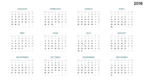 Calendar infographic, table chart, presentation chart. Business period concept. Task manager. Week, month. 2018 year Royalty Free Stock Images
