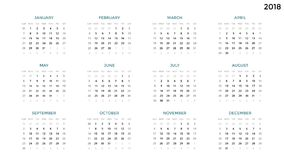 Calendar infographic, table chart, presentation chart. Business period concept. Task manager. Week, month. 2018 year. Circle arrows diagram for graph infographic Royalty Free Stock Images