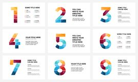 Vector alphabet infographic, presentation slide template. Business concept with numbers 1, 2, 3, 4, 5, 6, 7, 8, 9 and Royalty Free Stock Photos