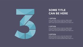 Vector alphabet infographic. Presentation slide template. Business font concept with number 3 and place for your text Royalty Free Stock Image