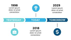 Vector arrows circles timeline infographic, diagram chart, graph presentation. Business progress concept with 3 options. Circle arrows diagram for graph Royalty Free Stock Image