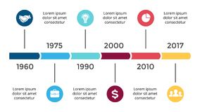 Vector arrows circles timeline infographic, diagram chart, graph presentation. Business progress concept with 6 options. Circle arrows diagram for graph Stock Photo