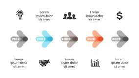 Vector arrows circles timeline infographic, diagram chart, graph presentation. Business progress concept with 5 options. Circle arrows diagram for graph Stock Photography