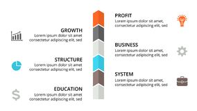 Vector arrows timeline infographic. Business progress concept with 6 options, parts. Circle arrows diagram for graph infographic presentation with steps parts Royalty Free Stock Photography