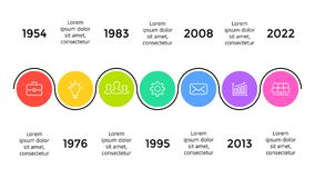 Vector arrows timeline infographic, diagram chart, graph presentation. Business progress concept with 7 options, parts. Circle arrows diagram for graph Royalty Free Stock Photography