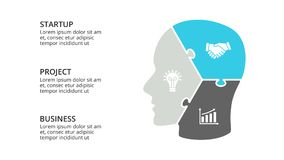 Vector brain infographic. Template for human head diagram, knowledge graph, neural network presentation and face chart Royalty Free Stock Photos