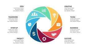 Vector circle arrows infographic, cycle diagram, geometric graph, presentation chart. Business concept with 8 options Royalty Free Stock Images