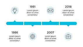 Vector arrows circles timeline infographic, diagram chart, graph presentation. Business progress concept with 4 options. Circle arrows diagram for graph Royalty Free Stock Image