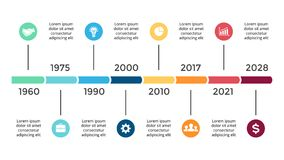 Vector arrows circles timeline infographic, diagram chart, graph presentation. Business progress concept with 8 options. Circle arrows diagram for graph Vector Illustration