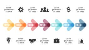 Vector arrows circles timeline infographic, diagram chart, graph presentation. Business progress concept with 7 options. Circle arrows diagram for graph Royalty Free Stock Photo