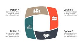 Vector circle arrows infographic, cycle diagram, geometric graph, presentation chart. Business concept with 4 options. Circle arrows diagram for graph Royalty Free Stock Photo