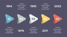 Vector metaball triangles timeline infographic, diagram chart, graph presentation. Business progress concept with 5 Stock Image
