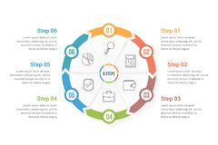 Circle Arrows with Six Elements. Circle arrows - infographic template with six elements, steps or options, workflow or process diagram Royalty Free Stock Photography