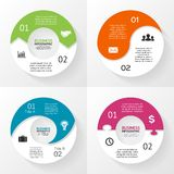 Circle arrows puzzle infographic, diagram, 2 steps Stock Photos