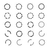 Circle arrows vector icons set. Reload rotation web signs collection Royalty Free Stock Images