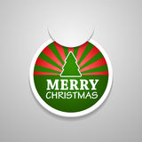 Circle attach merry christmas sticker. Stock Photo