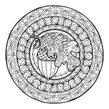 Circle autumn leaf ornament. Hand drawn art winter mandala. Made by trace from sketch. Royalty Free Stock Photo