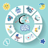 Circle  baby infographic.New born baby boy Royalty Free Stock Images