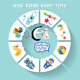 Circle  baby infographic.New born baby boy toys Royalty Free Stock Photo