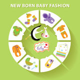 Circle  baby infographic.New born baby fashion Royalty Free Stock Image