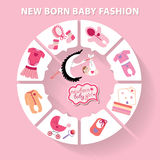 Circle baby infographic.New born baby girl toys. Cute Baby born toys infographic with sample new born icons in flat style.Vector circle business concepts.Use for vector illustration