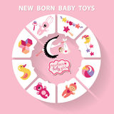 Circle  baby infographic.New born baby girl toys Stock Image