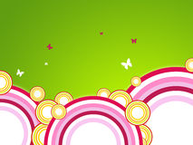 Circle background. Abstract illustration of rainbow circles and little butterflyes stock illustration