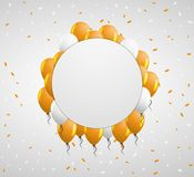 Circle badge and orange balloons Royalty Free Stock Photos