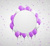Circle badge and violet balloons Stock Photos