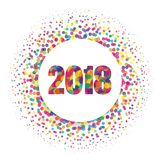 Circle banner with year 2018 label. Happy new year theme with scattered colorful dots  Royalty Free Stock Photography