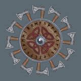 The circle of battle axes Viking, shield Viking decorated with Nordic runes Royalty Free Stock Images
