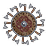 The circle of battle axes Viking, shield Viking decorated with Nordic runes Royalty Free Stock Photo