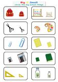 Circle the big school things, Find Big or Small worksheet for kids, opposite. worksheet. Circle the big school things, Find Big or Small worksheet for Royalty Free Stock Photography