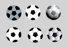 Circle black and white football vector set Stock Photos