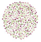 Circle of blooming ornate small red flowers with leaves royalty free illustration