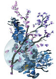 Circle and blossoming twigs abstract watercolor painting Stock Photography