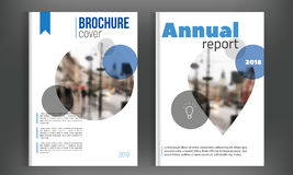 Circle Blue annual report Leaflet Set with blured city. Clean Brochure template in A4 size design. Book cover layout Stock Photography