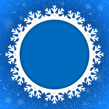 Circle Blue Background New Year. Snow. Snowflake. Royalty Free Stock Photos