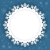 Circle Blue Background New Year. Snow. Snowflake. Stock Images