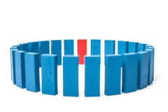Circle of blue blocks with single red one Royalty Free Stock Image