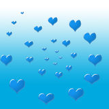 A circle of blue hearts Stock Photos