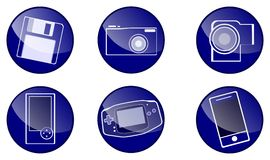 Circle blue icons Royalty Free Stock Photos