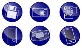 Circle blue icons. Six blue icons, web design Royalty Free Stock Photos